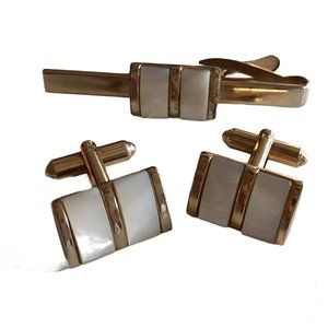 Vtg Mother of Pearl Tie Clip & Cuff Links